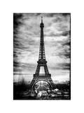 Instants of Paris B&W Series - Eiffel Tower, Paris, France - White Frame and Full Format Photographic Print by Philippe Hugonnard