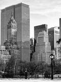Loving Couple Looking Skyscrapers Central Park Snowy Winter Photographic Print by Philippe Hugonnard