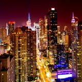 View of Skyscrapers of Times Square and 42nd Street at Red Night Photographic Print by Philippe Hugonnard