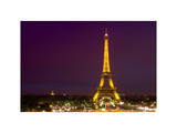 Cityscape Paris with Eiffel Tower at Night - White Frame and Full Format Photographic Print by Philippe Hugonnard