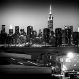 Skyline of the Skyscrapers of Manhattan by Night from Brooklyn Photographic Print by Philippe Hugonnard
