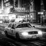 Snowstorm on 42nd Street in Times Square with Yellow Cab by Night Photographic Print by Philippe Hugonnard