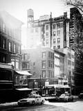 Urban Street Scene with Yellow Taxi in Winter Photographic Print by Philippe Hugonnard