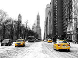 Urban Street Scene with a Yellow Taxi in Snow Photographic Print by Philippe Hugonnard