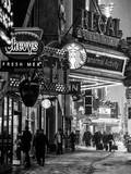 Urban Night Street Scene in Times Square in Snow in Winter Photographic Print by Philippe Hugonnard