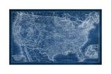 US Map Blueprint Plakater af Vision Studio