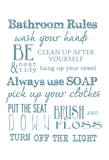 Bathroom Rules (White) Stampe di Taylor Greene