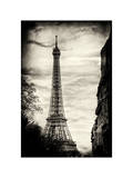 Eiffel Tower, Paris, France - White Frame and Full Format - Sepia - Tone Vintique Photography Photographic Print by Philippe Hugonnard