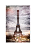 Instants of Paris Series - Eiffel Tower, Paris, France - White Frame and Full Format Photographic Print by Philippe Hugonnard