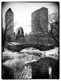 Snowy Gapstow Bridge of Central Park, Manhattan in New York City Photographic Print by Philippe Hugonnard