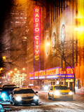 Instants of NY Series - Street Scenes by Night in Winter under the Snow Photographic Print by Philippe Hugonnard