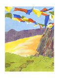 Prayer Flags III Premium Giclee Print by Carolyn Roth