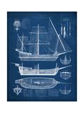 Antique Ship Blueprint I Reprodukcje autor Vision Studio