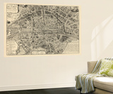 France, Paris, Vintage Map Wall Mural