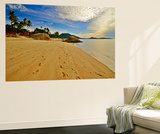 Deserted Morning Beach With Golden Sand And Footprints Wall Mural by  vitalytitov