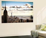 Sunset Skyline with the Empire State Building and the One World Trade Center, Manhattan, NYC, US Wall Mural by Philippe Hugonnard
