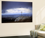 Summit Cross on the Lochenstein with Up Pulling Tempest Wall Mural by Joachim Opelka