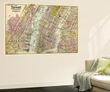 1891, New York, Map, Brooklyn, Jersey City, New York, United States Wall Mural