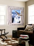 Dove Flying Toward Camera Through Plaster Frame with Ocean Waves in Background Wall Mural by Green Light Collection