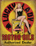 Lucky Lady Motor Oil Tin Sign Tin Sign