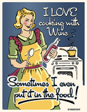 Cooking with Wine Tin Sign Tin Sign