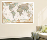Spanish Executive World Map Wall Mural