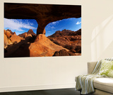 Boy under Natural Rock Arch at Spitzkoppe, Namibia Wall Mural by David Wall