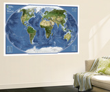 2011 World Explorer Satellite Map Wall Mural by  National Geographic Maps