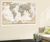 German Executive World Map Wall Mural by  National Geographic Maps