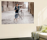 Boy with Bicycle, Smoking a Pipe Wall Mural