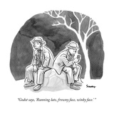 """Godot says, 'Running late, frowny face, winky face.' "" - New Yorker Cartoon Premium Giclee Print by Benjamin Schwartz"