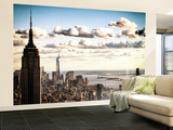 Sunset Skyline with the Empire State Building and the One World Trade Center, Manhattan, NYC, US Wall Mural – Large by Philippe Hugonnard