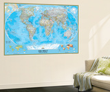 German Classic World Map Wall Mural by  National Geographic Maps