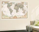 Carte du monde haut de gamme Reproduction murale par  National Geographic Maps