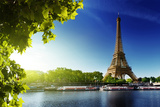 Seine In Paris With Eiffel Tower In Sunrise Time Wall Mural by Iakov Kalinin