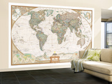Spanish Executive World Map Wall Mural – Large by  National Geographic Maps