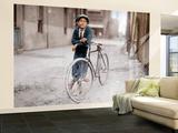 Boy with Bicycle, Smoking a Pipe Fototapeta - velká