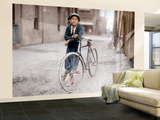 Boy with Bicycle, Smoking a Pipe Wall Mural – Large