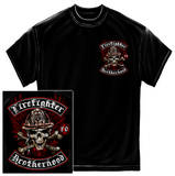 Firefighter - Biker Cross Bones Black T-Shirt