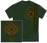 Irish Firefighter Gold Cross T-Shirt
