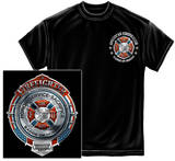 Fire Honor Service Sacrifice Chrome Badge T-shirts