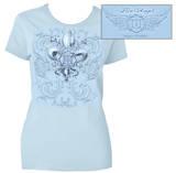 Juniors: Firefighter Fire Angel Powder Blue T-Shirt