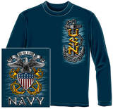 Long Sleeve: Navy - Full Print Eagle T-shirts