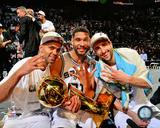 San Antonio Spurs Parker, Duncan, Manu & Ginobili NBA Championship Trophy 2014 NBA Finals Photo