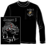 Long Sleeve: Marine Corps - Chrome Dog Sempri Fi T-shirts