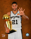 San Antonio Spurs Tim Duncan NBA Championship Trophy Game 5 of the 2014 NBA Finals Photo