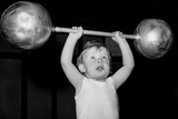 Child Lifting Weights Poster Print