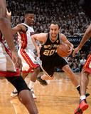 2014 NBA Finals Game Three: Jun 10, Miami Heat vs San Antonio Spurs - Manu Ginobili, Norris Cole Photographic Print by Andrew Bernstein