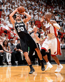 2014 NBA Finals Game Four: Jun 12, Miami Heat vs San Antonio Spurs - Manu Ginobili, Ray Allen Photographic Print by Andrew Bernstein