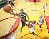 2014 NBA Finals Game Four: Jun 12, Miami Heat vs San Antonio Spurs - Kawhi Leonard, Chris Bosh Photographic Print by Nathaniel S. Butler